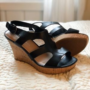 Like New! Franco Sarto Colletta Wedge Cork Sandals